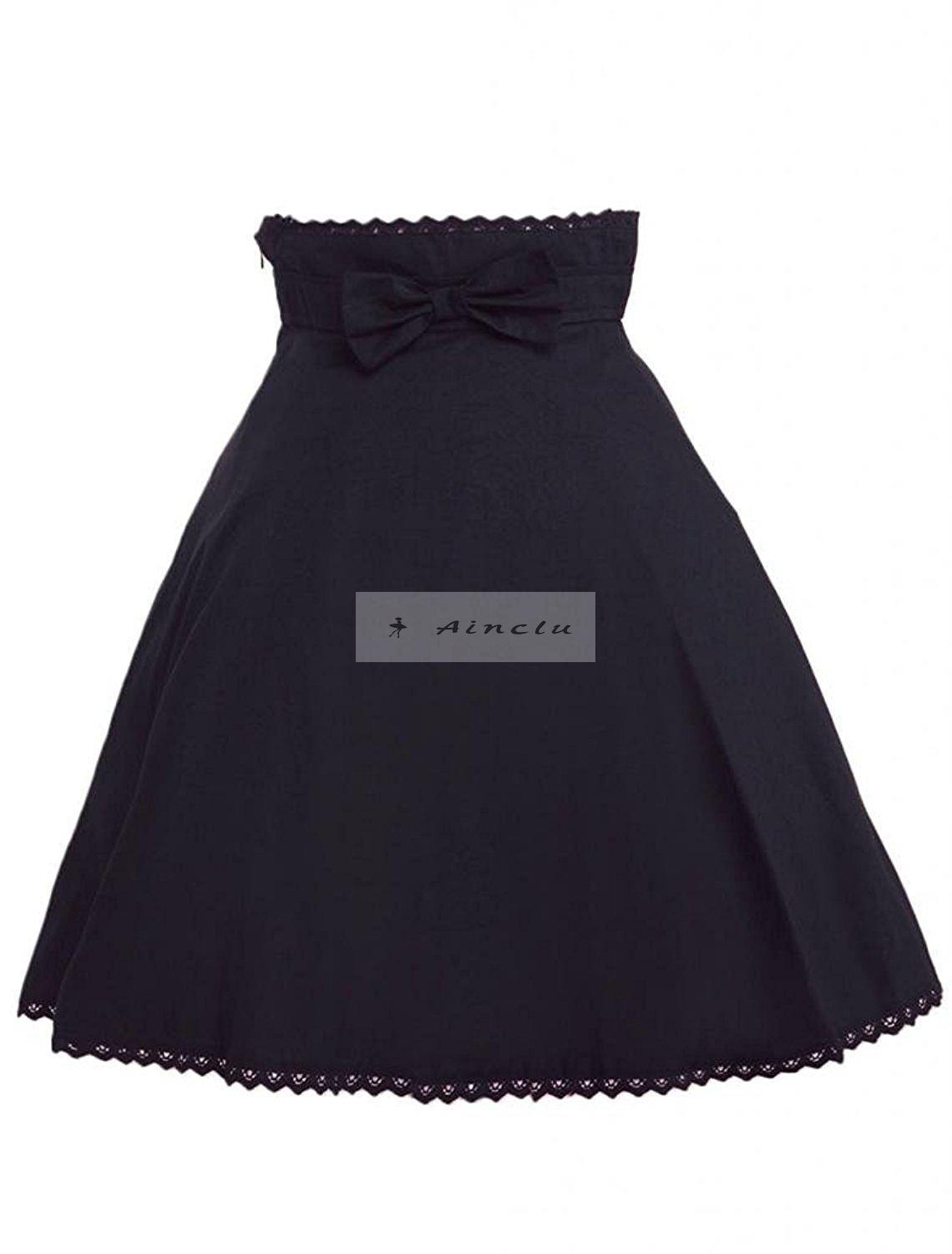 Ainclu Womens Black Pleated Bow Lolita Skirt