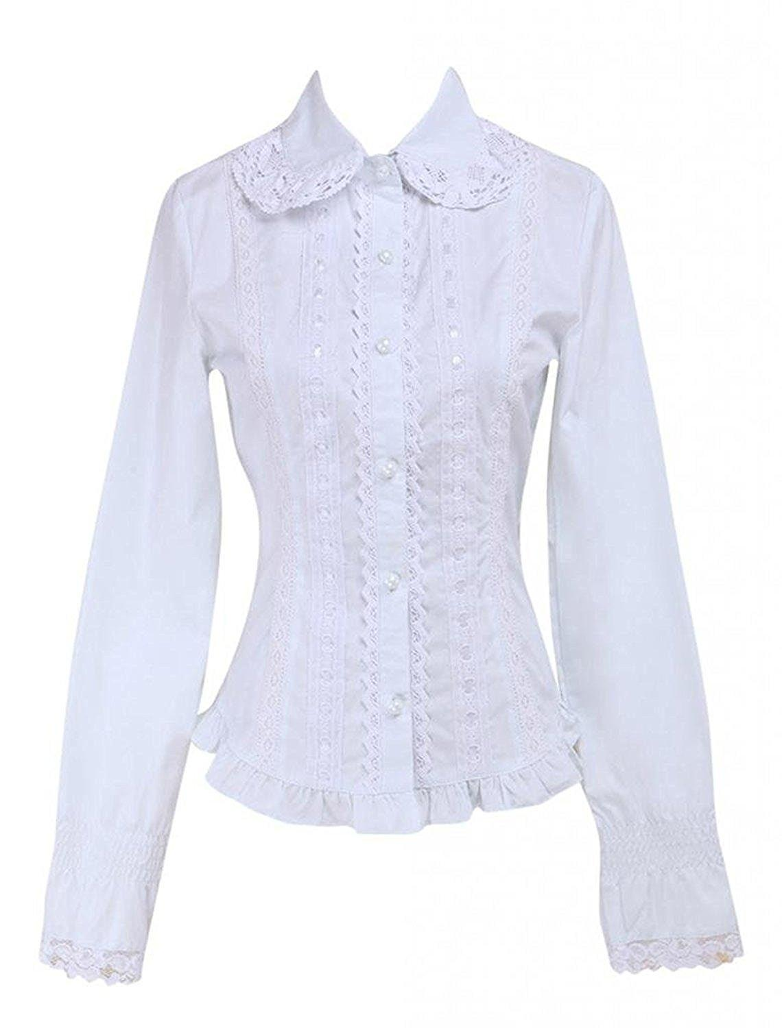 Ainclu Womens Cotton White Lace Long Sleeves Cotton Lolita Blouse