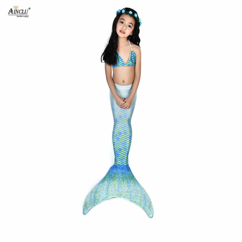 Girls Kids Mermaid Tail Bikini Bathing Suit Fancy Swimmable Wear Cosplay Costumes Children Swimwear Clothing Set S-XL