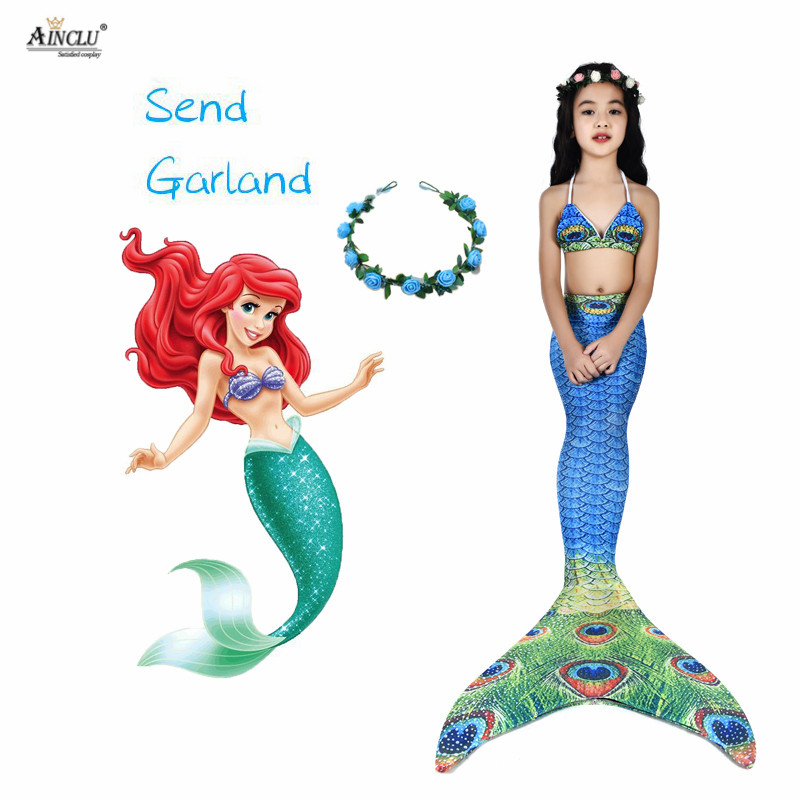 3PCS/Set Kids Girls Mermaid Swimming Nice Tail Swimsuit Summer swim dress cosplay mermaid tails No monofin Swimwear for Girls