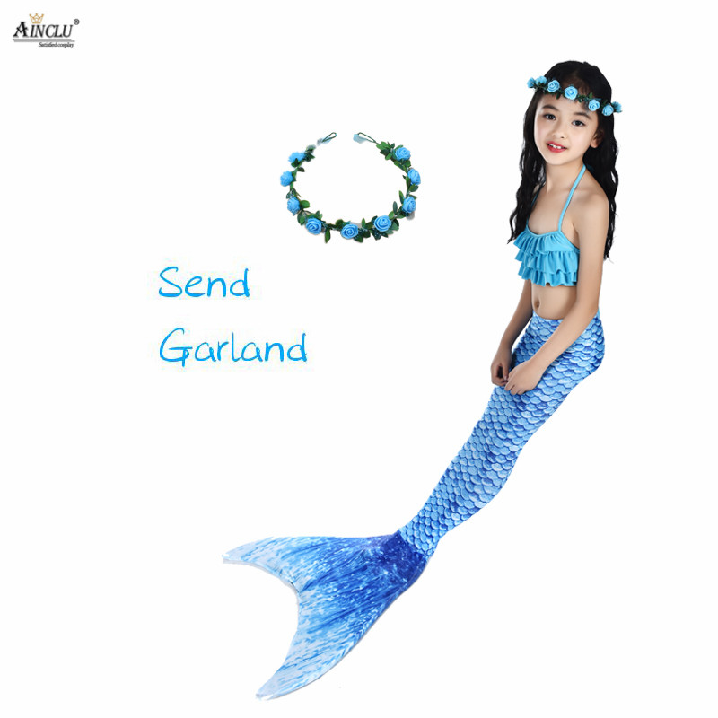 5PC/Set Kids Mermaid Tail Costume Ariel Bikini Summer Swimsuit Evening Dress child girl bikini Bathing Suit Beach Swim Wear